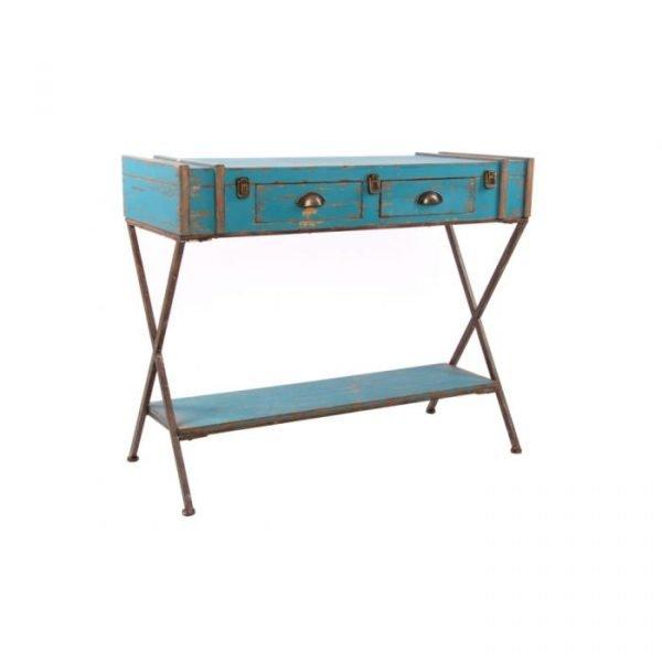 Consola madera azul